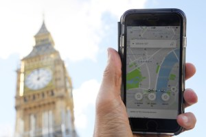 A photo illustration shows the Uber app on a mobile telephone, as it is held up for a posed photograph in central London, Britain September 22, 2017. Credit: Reuters
