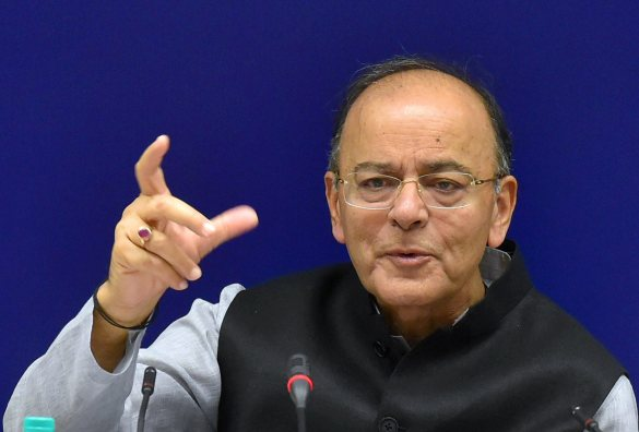 Union finance minister Arun Jaitley addressing the media after the 22nd meeting of the Goods and Services Tax (GST) Council, in New Delhi on Friday. Credit: PTI/Atul Yadav