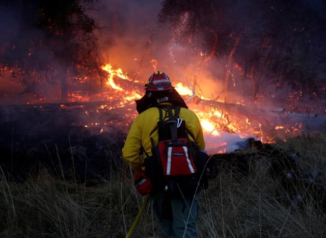 FILE PHOTO: Firefighters battle a wildfire near Santa Rosa, California, US, October 14, 2017. Credit: Reuters/Jim Urquhart/File Photo