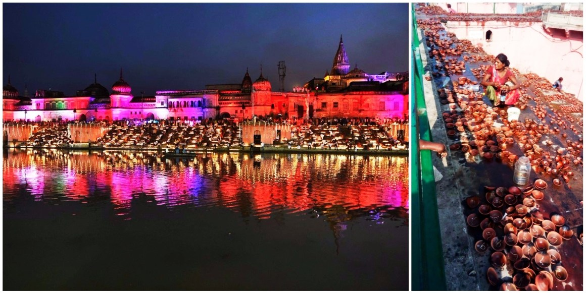 The lit up ghats of Ayodhya for Diwali celebrations organised by the Uttar Pradesh government last Wednesday. Credit: Krishna Pratap Singh