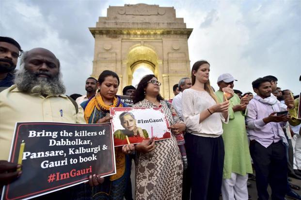 People protesting Gauri Lankesh's murder at India Gate. Credit: PTI/Files