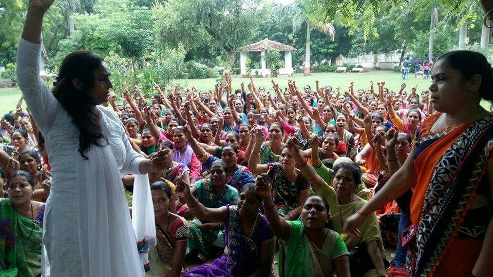 ASHA workers protesting in Vadodara. Credit: Damayantee Dhar
