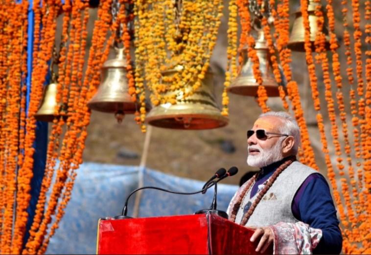 Modi in Kedarnath. Credit: Twitter/PMO