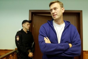 Russian opposition leader Alexei Navalny attends an appeal against his jail for repeatedly violating laws governing the organisation of public meetings and rallies, at Moscow city court in Moscow, Russia October 6, 2017. Credit: Reuters