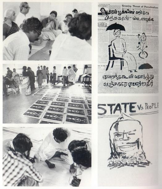 Poster making workshops using low-cost screen printing technique, in Dindigul 1982, Lonavala 1984 and Varanasi, 1981. Dashrath Patel Archive, Ahmedabad