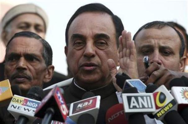 Janata Party president Subramanian Swamy, who brought the petition to revoke the telecom licences issued in 2008, speaks with the media after a verdict outside the Supreme Court in New Delhi February 2, 2012. Credit: Reuters