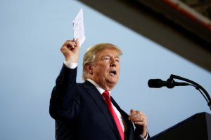 US President Donald Trump holds up a list of politicians as he speaks about tax reform in Harrisburg, Pennsylvania, U.S., October 11, 2017. Credit: Reuters