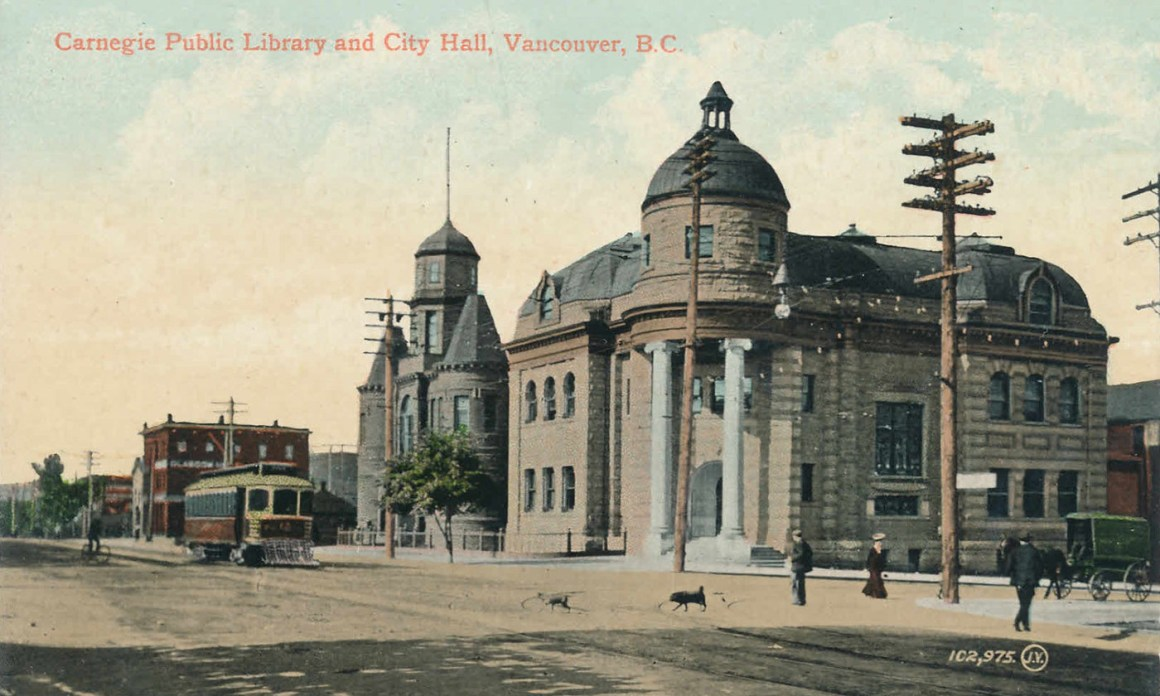 Postcard of the Carnegie Library in Vancouver BC, c1905, funded by a bequest from the American philanthropist Andrew Carnegie. Credit: Flickr, CC BY-NC-ND