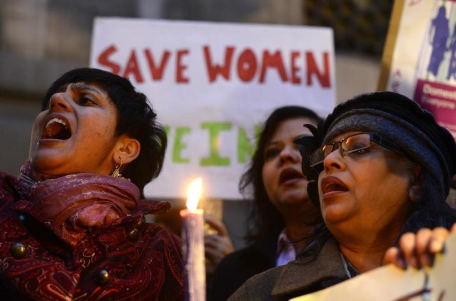 Women protest outside the Indian High Commission, London January 7, 2013. Five men accused of raping and murdering an Indian student were read the charges in a near-empty courtroom on Monday after the judge cleared out lawyers for bickering over whether the men deserved a defence. Credit: Reuters