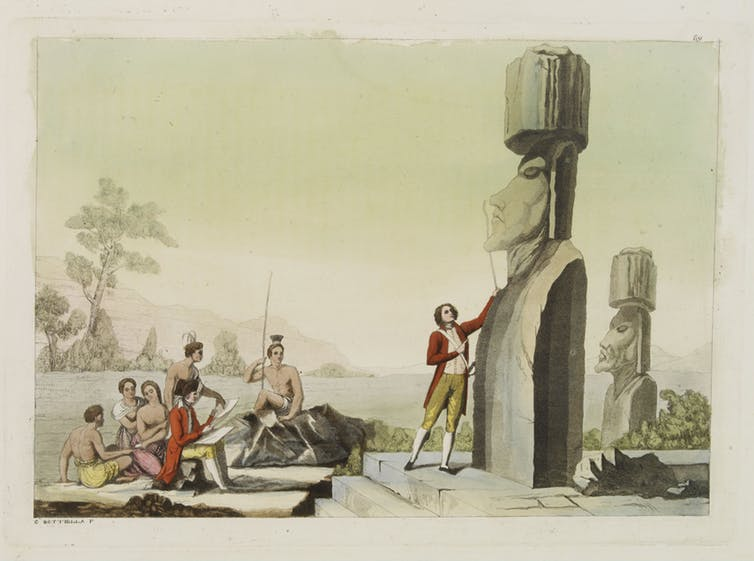 Europeans inspect statues over a century after first contact. Carlo Bottillega 1827