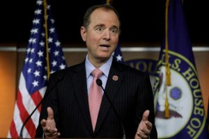House Intelligence Committee ranking Democrat Adam Schiff (D-CA) reacts to Committee Chairman Devin Nunes statements about surveillance of U.S. President Trump and his staff as well as his visit to the White House, as Schiff holds a news conference at the U.S. Capitol in Washington, U.S., March 22, 2017. Credit: Reuters
