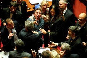 5-Star Movement senator Andrea Cioffi reacts during a confidence vote at the Senate in Rome, Italy October 25, 2017. Credit: Reuters