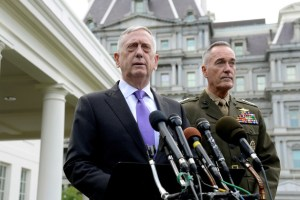 Secretary of Defense James Mattis (L) makes a statement outside the West Wing of the White House in response to North Korea's latest nuclear testing, as Chairman of the Joint Chiefs of Staff Gen. Joseph Dunford listens, in Washington, U.S., September 3, 2017. Credit: Reuters