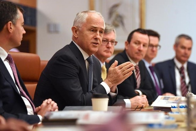 Australian Prime Minister Malcolm Turnbull speaks to state and territory leaders during a meeting of the Council of Australian Governments (COAG) at Parliament House in Canberra, Australia, October 5, 2017. Credit: Reuters