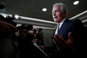 Sen. Bob Corker (R-TN) speaks with reporters after announcing his retirement at the conclusion of his term on Capitol Hill in Washington, U.S., September 26, 2017. Credit: Reuters