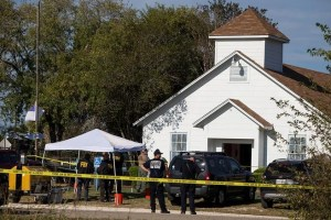 Law enforcement officials investigate a mass shooting at the First Baptist Church in Sutherland Springs, Texas, US November 5, 2017. Credit: Nick Wagner/American Statesman via Reuters