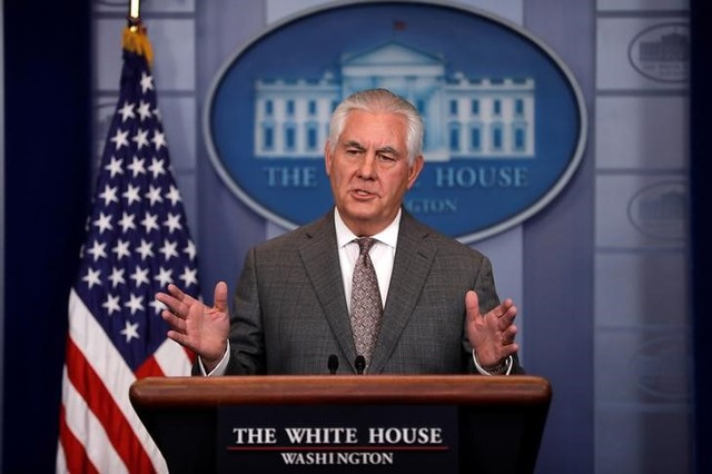 FILE PHOTO: US Secretary of State Rex Tillerson answers questions during the daily briefing at the White House in Washington, DC, U.S. on November 20, 2017. Credit: Reuters/Carlos Barria/File PhotoFILE PHOTO: US Secretary of State Rex Tillerson answers questions during the daily briefing at the White House in Washington, DC, U.S. on November 20, 2017. Credit: Reuters/Carlos Barria/File Photo