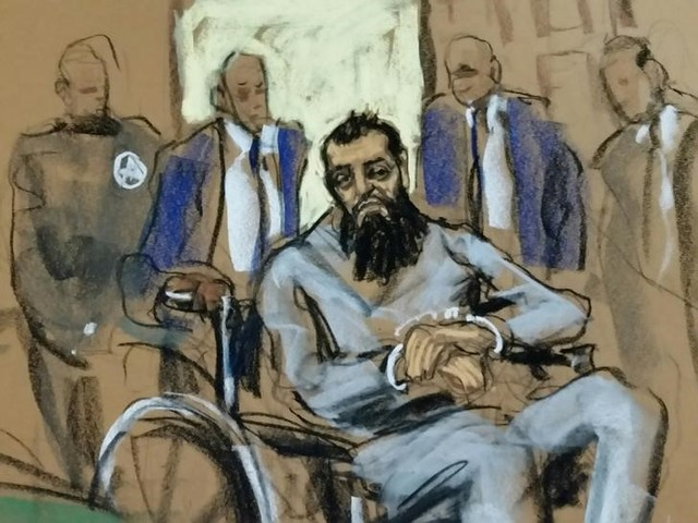 Sayfullo Saipov, the suspect in the New York City truck attack, is seen in this courtroom sketch appearing in Manhattan federal courtroom in a wheelchair in New York, NY, US, November 1, 2017. Credit: Reuters/Jane Rosenberg