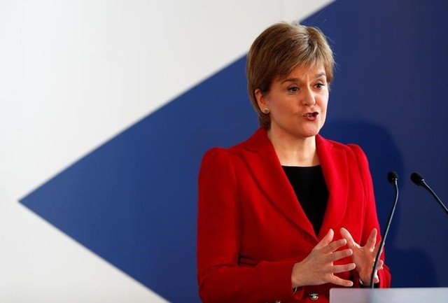 First Minister Nicola Sturgeon speaks on the 20th anniversary of Scotland voting to establish its own Parliament, in Edinburgh, Britain, September 11, 2017. Credit: Reuters/Russell Cheyne