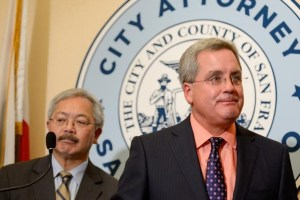 FILE PHOTO: San Francisco City Attorney Dennis Herrera and Mayor Ed Lee announce they have filed a lawsuit against President Donald Trump for his unconstitutional executive order targeting sanctuary cities during a news conference at city hall in San Francisco, California, US, January 31, 2017. Credit: Reuters/Kate Munsch/File Photo