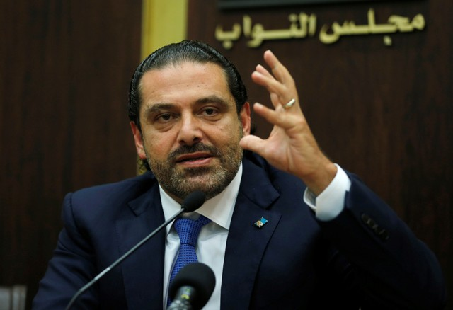Lebanon's prime minister Saad al-Hariri gestures during a press conference in parliament building at downtown Beirut, Lebanon October 9, 2017. Credit: Reuters/Mohamed Azakir