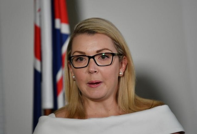 Nick Xenophon Team (NXT) Senator Skye Kakoschke-Moore announces her resignation at a NEWs conference at her office in Adelaide, November 22, 2017. AAP/David Mariuz/via Reuters