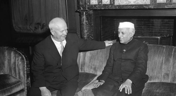 Nikita Khrushchev and Jawaharlal Nehru. Credit: Wikimedia Commons