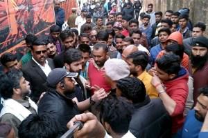 Karni Sena members protest against Padmavati. Credit: PTI