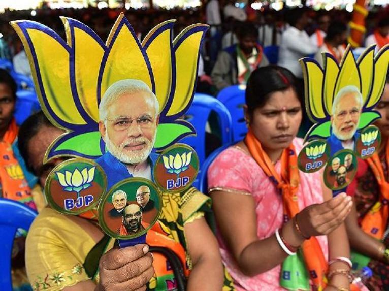 BJP supporters in Gujarat. Credit: PTI
