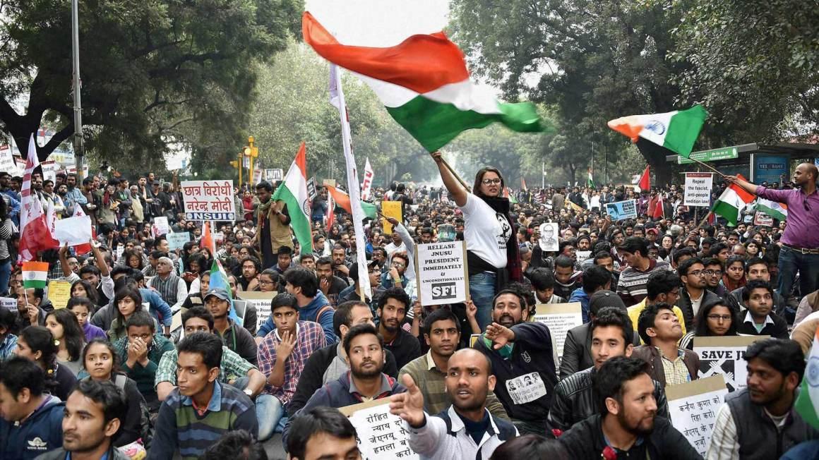 A protest at JNU. Credit: PTI