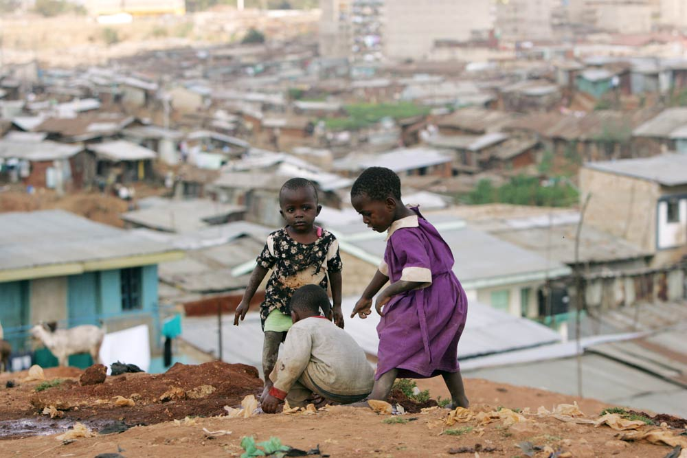 Children play at the sprawling Mathare slums, one of the largest and poorest in Africa, near Kenya's capital Nairobi. Credit: Reuters