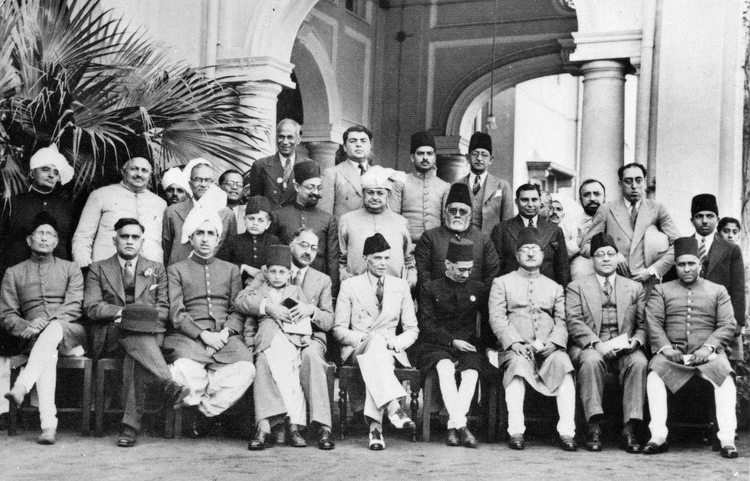 Muslim League leaders after a dinner party given at the residence of Mian Bashir Ahmad, Lahore, 1940. Credit: British Library/Wikimedia Commons