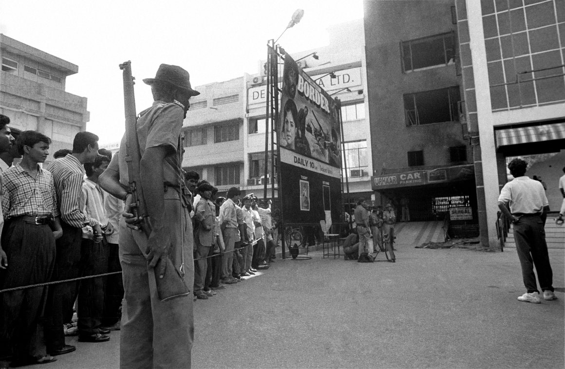 New Delhi: File photo of Uphaar Cinema in New Delhi in 1997. The Supreme Court on Wednesday imposed a fine of Rs 60 crore on Gopal and Sushil Ansal. 59 cinegoers died of asphyxia in a massive blaze that engulfed the theatre in 1997. PTI Photo (PTI8_19_2015_000300B) *** Local Caption ***