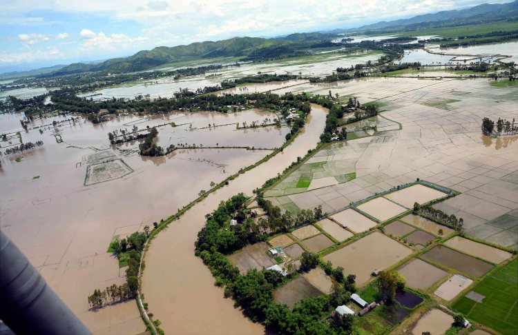 Imphal: An aerial view of the flood affected areas in Imphal, Manipur on Saturday. PTI Photo(PTI7_15_2017_000092B)