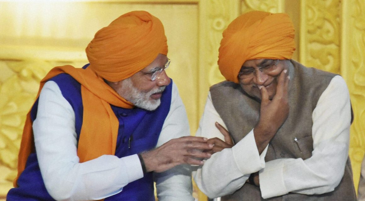 Patna: Prime Minister Narendra Modi and Bihar Chief Minister Nitish Kumar share lighter moments as they participate in the 350th birth anniversary celebrations of Guru Gobind Singh at Gandhi Maidan in Patna on Thursday. PTI Photo (PTI1_5_2017_000052A)