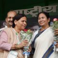 Patna:  RJD senior leader Rabri Devi greets West Bengal Chief Minister Mamata Banerjee during the  'BJP bhagao, desh bachao' rally at Gandhi Maidan in Patna on Sunday. PTI Photo(PTI8_27_2017_000097B) *** Local Caption ***