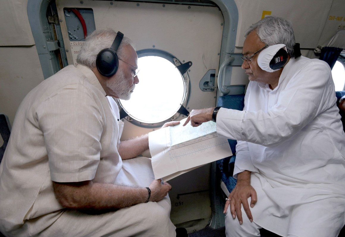 The Prime Minister, Shri Narendra Modi and the Chief Minister of Bihar, Shri Nitish Kumar conducting an aerial survey of flood affected areas, in Bihar on August 26, 2017.