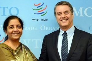 The Minister of State for Commerce & Industry (Independent Charge), Smt. Nirmala Sitharaman meeting the DG, WTO, Mr. Roberto Azevedo, in Geneva on July 18, 2017.