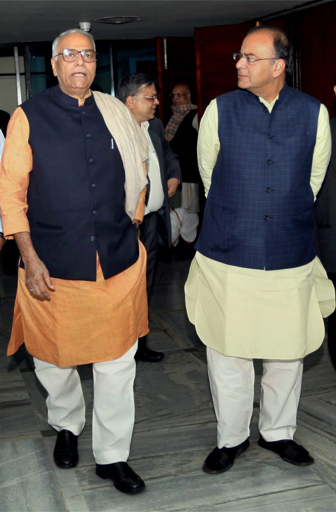 New Delhi : File photo of senior BJP leaders Yashwant Sinha and Arun Jaitley after a BJP Parliamentary Party meeting in New Delhi on Dec 04, 2012. Sinha on Wednesday delivered a blistering criticism of Finance Minister Arun Jaitley over the state of the economy. PTI Photo by Subhav Shukla (PTI9_28_2017_000161B)