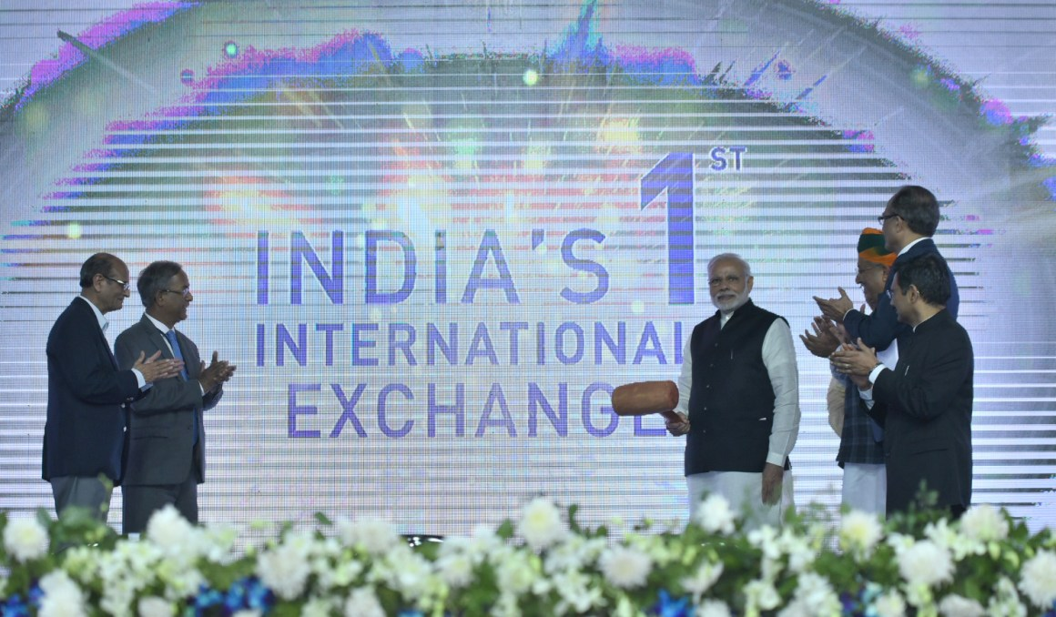 The Prime Minister, Shri Narendra Modi inaugurating the India International Exchange (India's first International Stock Exchange) by hitting the gong at GIFT City, Gandhinagar, Gujarat on January 09, 2017. The Minister of State for Finance and Corporate Affairs, Shri Arjun Ram Meghwal is also seen.