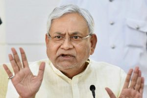 Patna: Bihar Chief Minister Nitish Kumar addressing a press conference at his residence in Patna on Monday. PTI Photo  (PTI11_6_2017_000095B)