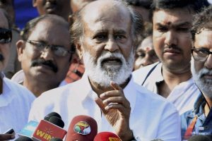 Chennai: Superstar Rajinikanth addresses after casting his vote during the South Indian Artists Association's (SIAA) Election in Chennai on Sunday. PTI Photo by R Senthil Kumar(PTI10_18_2015_000053A)