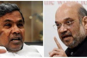 कर्नाटक के मुख्यमंत्री सिद्धारमैया और भाजपा अध्यक्ष अमित शाह. (फोटो: पीटीआई)