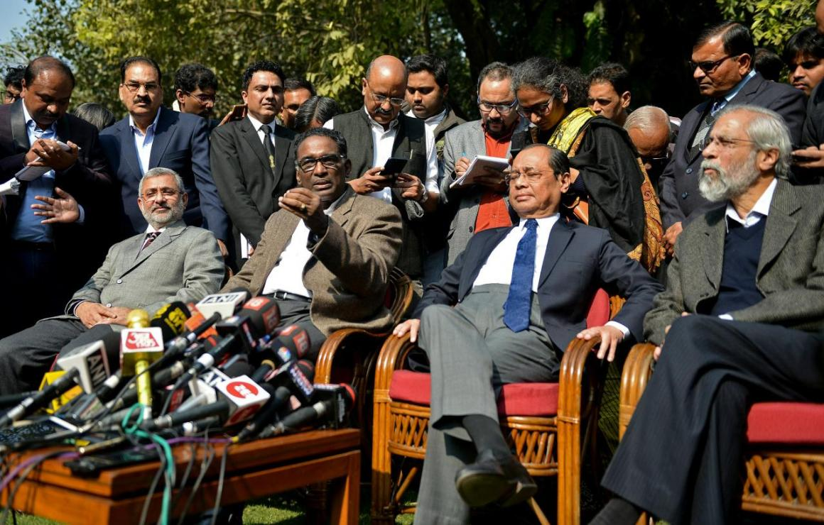 (L-R) Justices Kurian Joseph, Jasti Chelameswar, Ranjan Gogoi and Madan Lokur address the media at a news conference in New Delhi, India January 12, 2018. REUTERS/Stringer