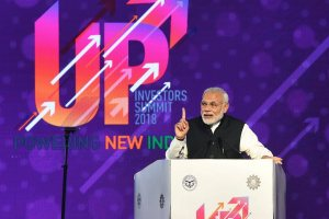 Lucknow: Prime Minister Narendra Modi speaks at the inauguration of the UP Investors Summit 2018, in Lucknow on Wednesday. PTI Photo by Nand Kumar (PTI2_21_2018_000099B)