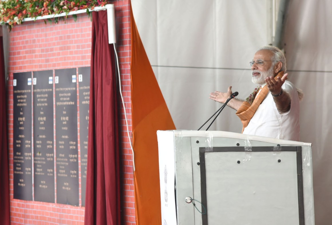The Prime Minister, Shri Narendra Modi addressing at the ceremony to lay Foundation Stone of Projects under Namami Gange & National Highway projects, in Mokama, Bihar on October 14, 2017.