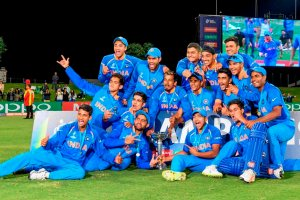 Mount Maunganui: Indian team players pose for photographs with the trophy as they jubilate after winning the ICC Under-19 Cricket World Cup finals in Mount Maunganui on Saturday. India beat Australia by eight wickets to win record fourth U-19 World Cup. (ICC via PTI Photo) (PTI2_3_2018_000096B)