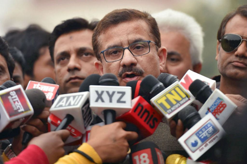 UP Shia Central Waqf Board Chief Waseem Rizvi addresses the media outside the Supreme Court in New Delhi on December 5, 2017. (PTI)