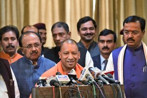 Lucknow: Chief minister Yogi Adityanath addresses the media at Central Hall of Vidhan Bhawan in Lucknow on Thursday. PTI Photo by Nand Kumar(PTI2_8_2018_000127B)