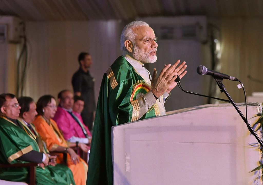 Imphal: Prime Minister Narendra Modi delivers the inaugural address at the 105th session of Indian Science Congress at Manipur University in Imphal on Friday. PTI Photo/ PIB (PTI3_16_2018_000100B)